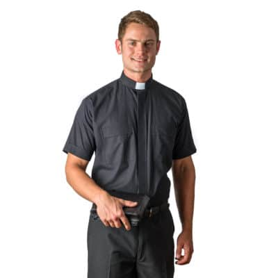 Grey Short Sleeve Tab Collar Clergy Shirt