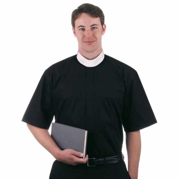 short sleeve neckband clerical shirt